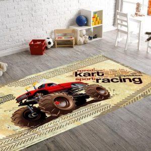 Seroni Karting Digital Printing Patchwork Kids Rug