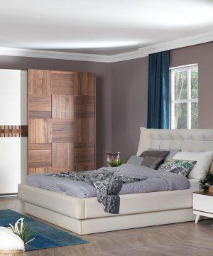 Berrak furniture awarded walnut bedroom sets king queen full vanity dresses bed closet ecru