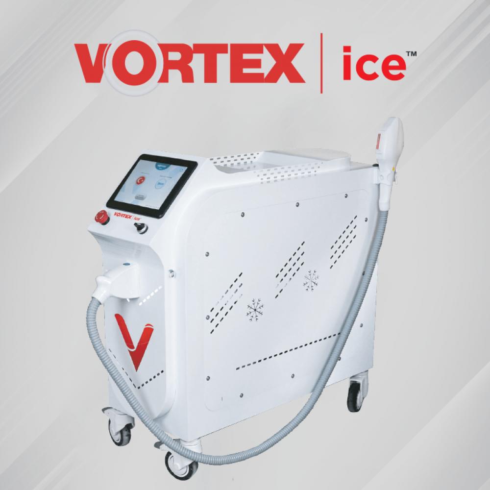 Vortex ice painless epilation with ice cap effect