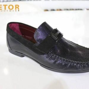 Etor Genuine Leather Loafer Driver Shoes Mens Black