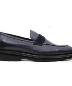 Molyer navy blue loafer suede men shoes