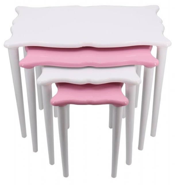 Öz malatya pazari lake side end coffee snack set of 4 pink white stackable tables living room