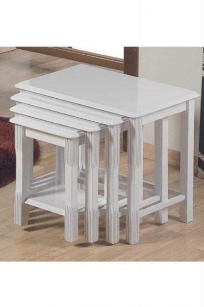 Öz malatya pazari aslan side end coffee snack set of 4 white stackable tables living room