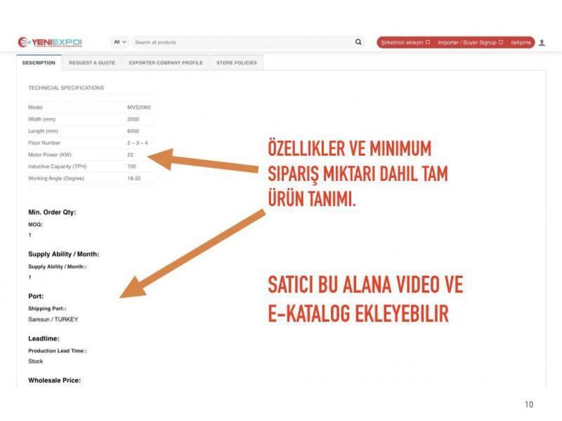 Özellikler ve minimum sipariş miktarı dahil tam ürün tanımı.Satıcı bu alana video ve e-katalog ekleyebilir
