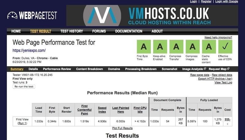 Yeniexpo.com webpagetest'te ölçülen yüksek sayfa performansı sonuçlarına ulaştı