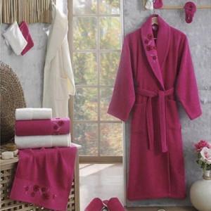 Berberler Rebeka Men Women 100% Turkish Cotton Bath Robe Bathrobe Bornoz and Towel Set Lara