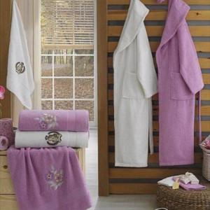 Berberler Rebeka Men Women 100% Turkish Cotton Bath Robe Bathrobe Bornoz and Towel Set Lydia