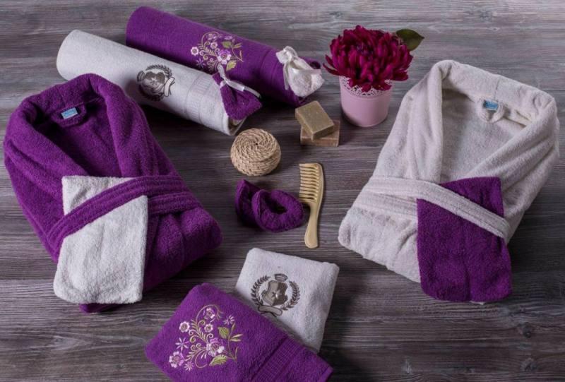 Berberler rebeka mens women bathrobe bornoz and towel set turkish cotton red black