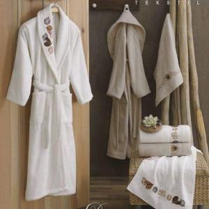 Berberler Rebeka Men Women 100% Turkish Cotton Bath Robe Bathrobe Bornoz and Towel Set Duru