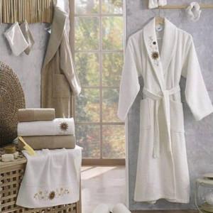 Berberler Rebeka Mens Women Bathrobe Bornoz and Towel Set 100% Turkish Cotton Derya
