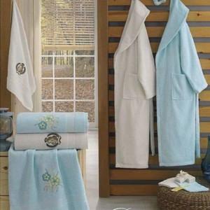 Berberler Rebeka Men Women 100% Turkish Cotton Bath Robe Bathrobe Bornoz and Towel Set Derin
