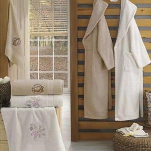 Berberler Rebeka Men Women 100% Turkish Cotton Bath Robe Bathrobe Bornoz and Towel Set Ruya