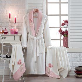 Berberler rebeka men women family 100% turkish cotton bath robe bathrobe pink white