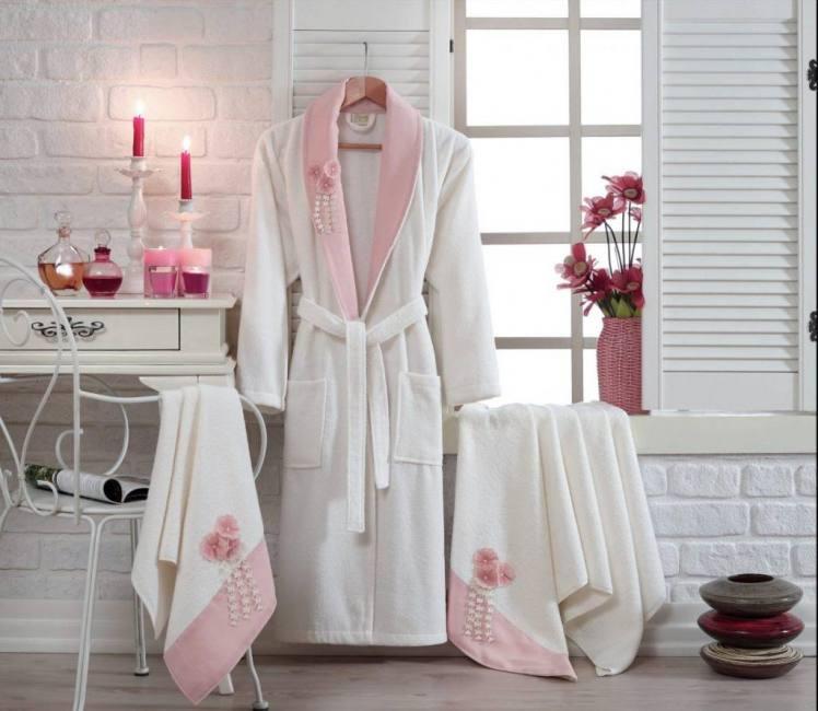 Berberler Rebeka Women Family 100 Turkish Cotton Bath Robe Bathrobe Pink White