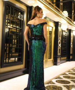 Wholesale maya moda off-shoulder sparkly strip mermaid long evening gowns dress