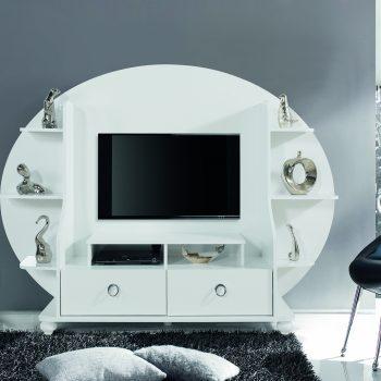 Cassalis tv media white stand wall unit console ellipse wholesale furniture