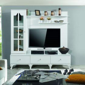 Cassalis tv media white stand wall unit console yildiz home furniture