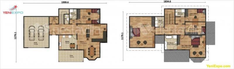 Two story prefab family homes gara