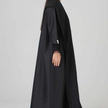Tura mesh lining black abaya