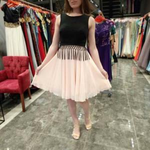 Short Knee Length Party Dress Slee