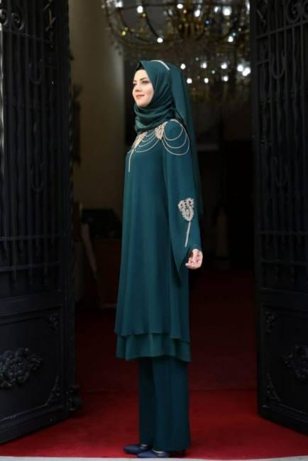 Elegant two piece modest dresses m