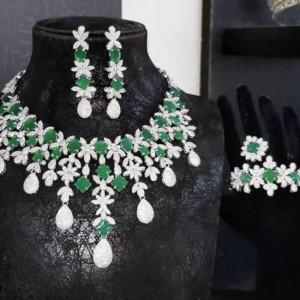 Florence Bridal Green Royal Jewellery Set Zirconium Stones Amazing 21