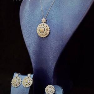 Stunning Jewelry Set Lovely Cliomora CZ Cubic Zirconia ZKS52