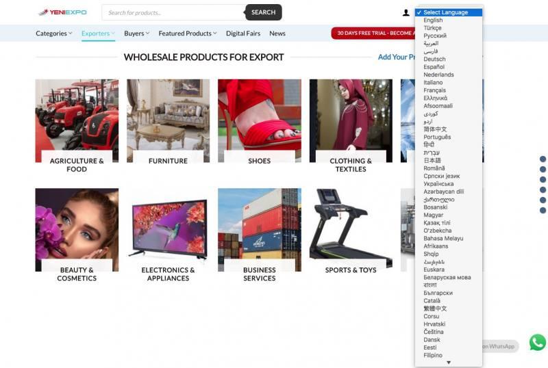 Yeniexpo website in 70+ languages