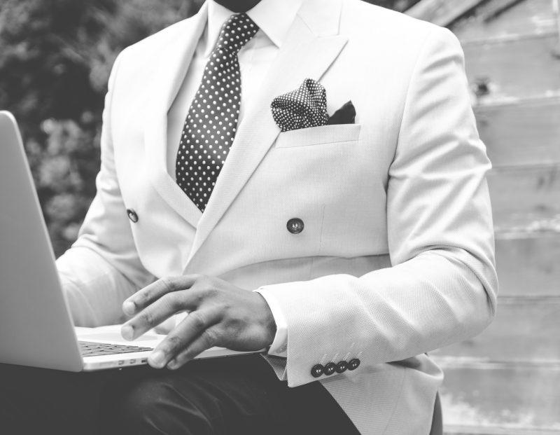 suit, man, laptop