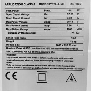 325 watt monocrystalline solar pan